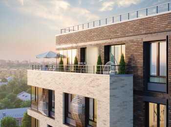 Комбинированный вентилируемый фасад с отделкой клинкерным кирпичом
